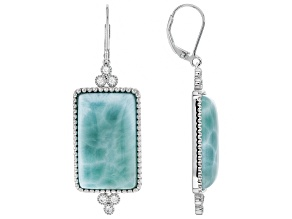 Blue larimar rhodium over silver earrings .67ctw