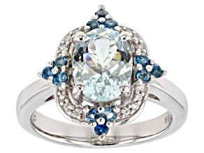 Blue Aquamarine Rhodium Over Silver Ring 1.81ctw