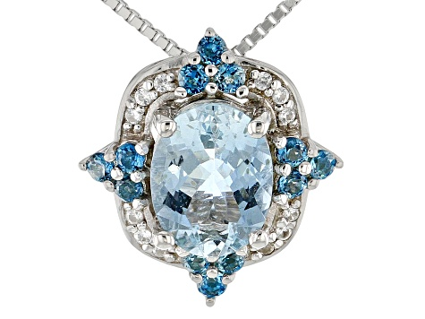 Blue Aquamarine Rhodium Over Sterling Silver Pendant With Chain 1.81ctw