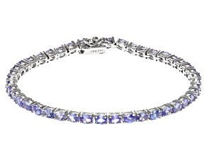 Blue tanzanite rhodium over sterling silver bracelet 5.48ctw