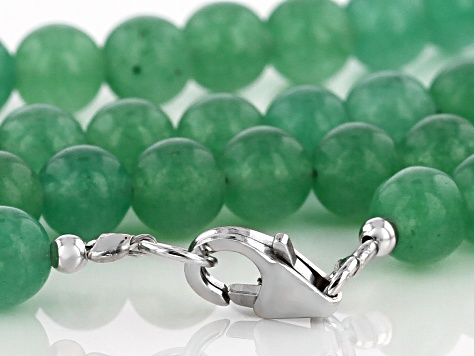 Green Onyx Sterling Silver Bead Strand Necklace