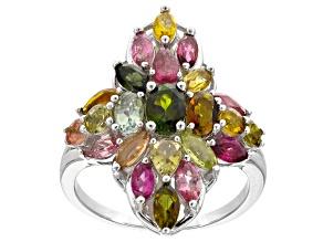 Multi-color multi-tourmaline rhodium over sterling silver ring 3.27ctw