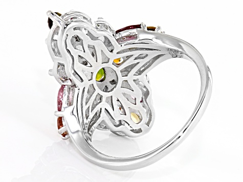 Multi-color multi-tourmaline rhodium over sterling silver ring 3.27ctw