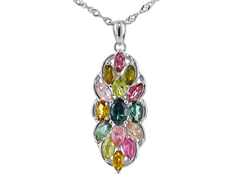Open-Minded Multi-colored Strand Beads Necklace Engagement & Wedding With Sterling Silver Pendants