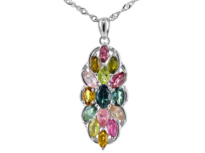 Multi-color multi-tourmaline rhodium over sterling silver pendant with chain 2.28ctw