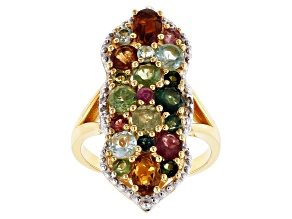 Mixed-color tourmaline 18k gold over silver ring 3.43ctw
