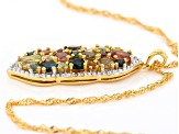 Mixed color tourmaline 18k gold over silver pendant with chain 3.44ctw