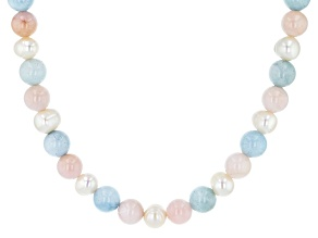 Pearl, Morganite and Aquamarine Rhodium Over Sterling Silver Bead Necklace