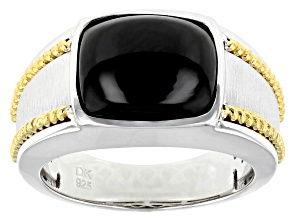 Black Spinel Rhodium & 18k Gold Over Silver Two-Tone Mens Ring 6.80ct