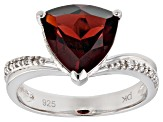 Red garnet rhodium over silver ring 3.08ctw