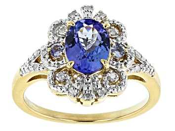 Picture of Blue Tanzanite 18k Gold Over Silver Ring 1.16ctw