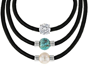 Blue turquoise rhodium over silver 3 pair leather cord set 3.40ct