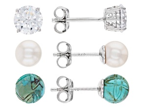 Blue turquoise rhodium over silver 3 pairs stud earrings set 2.52ctw