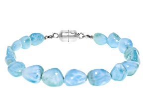 Blue larimar nugget rhodium over sterling silver bracelet