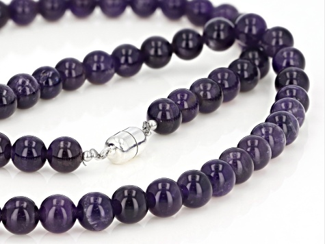 Purple Amethyst Rhodium Over Sterling Silver Bead Necklace 440.00ctw