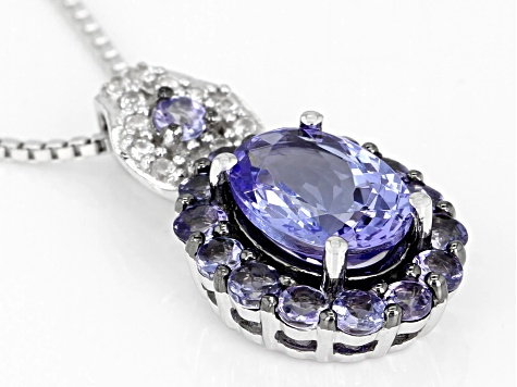 Blue Tanzanite Rhodium Over Silver Pendant With Chain 1.66ctw