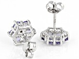 Blue tanzanite rhodium over sterling silver earrings 1.23ctw