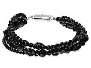 Black Spinel Bead Rhodium Over Silver 5i-Row Bracelet  130.00ctw