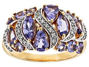 Blue tanzanite 18k yellow gold over silver ring 2.81ctw