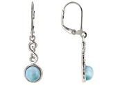 Blue Larimar Rhodium Over Sterling Silver Jewelry Set