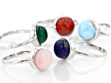 Multi Gemstone Rhodium Over Sterling Silver Set Of 5 Rings
