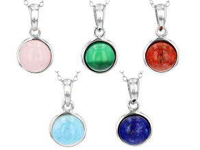 Multi Gemstone Rhodium Over Sterling Silver Set Of 5 Pendant With Chain