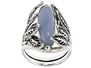 Blue angelite oxidized sterling silver ring