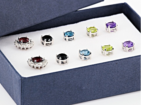 Multi-color gemstone rhodium over sterling silver stud earrings 8.59ctw