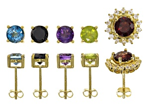 Multi-color gemstone 18k yellow gold over sterling silver stud earrings 8.59ctw
