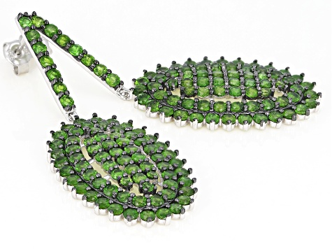 Green Russian chrome diopside rhodium over sterling silver dangle earrings 10.02ctw