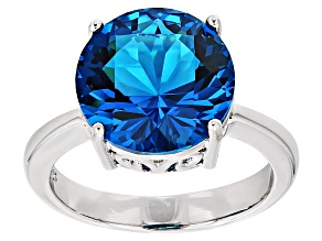 Blue Paraiba Tourmaline Simulant Rhodium Over Sterling Silver Ring 4.45ct