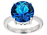 Blue Paraiba Tourmaline Simulant Rhodium Over Sterling Silver Ring 4.45ct