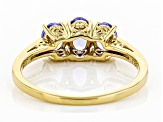 Blue tanzanite 18k yellow gold over sterling silver ring 0.96ctw