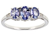 Blue tanzanite rhodium over sterling silver ring .96ctw