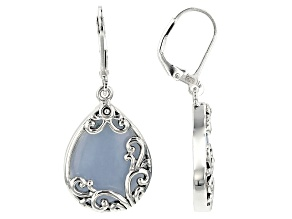 Blue angelite rhodium over sterling silver earrings