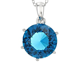 Blue Paraiba Tourmaline Simulant Rhodium Over Sterling Silver Pendant with Chain 4.45ct