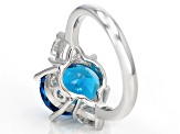 Blue Paraiba Tourmaline Simulant Rhodium Over Sterling Silver Ring 3.73ctw