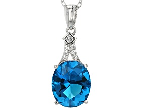 Blue Paraiba Tourmaline Simulant Rhodium Over Sterling Silver Pendant with Chain 3.39ctw
