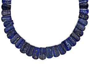 Blue lapis lazuli rhodium over silver necklace