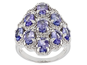 Blue Tanzanite Rhodium Over Sterling Silver Ring 3.47ctw