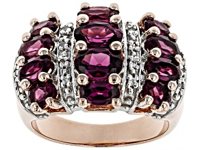 Raspberry Color Rhodolite 18k Rose Gold Over Sterling Silver Ring 2.96ctw