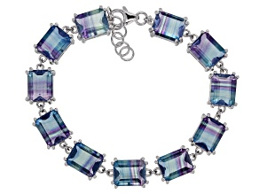 Bi-color fluorite rhodium over sterling silver bracelet 36.72ctw