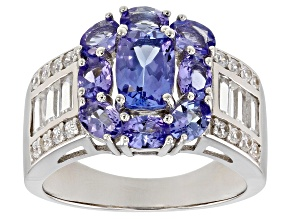 Blue Tanzanite Rhodium Over Sterling Silver Ring 3.17ctw