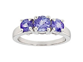Blue Tanzanite Rhodium Over Sterling Silver 3-Stone Ring 1.65ctw