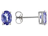 Blue Tanzanite Rhodium Over Sterling Silver Stud Earrings 1.45ctw