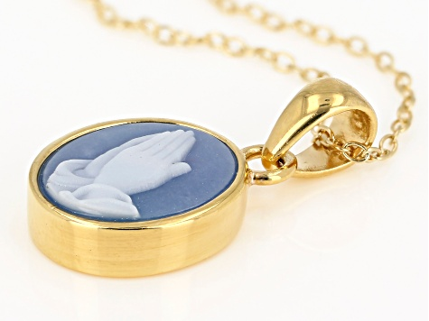 Blue agate praying hands cameo 18k gold over silver pendant with chain