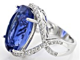 Blue Color Change Fluorite Rhodium Over Sterling Silver Ring 19.01ctw