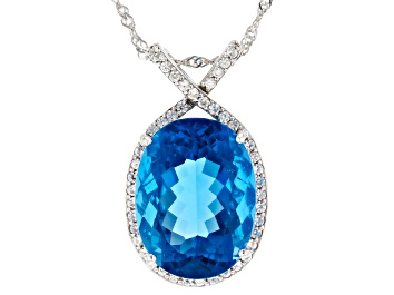 Picture of Blue Color Change Fluorite Rhodium Over Sterling Silver Pendant With Chain 18.68ctw