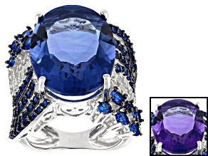 Blue Color Change Fluorite Rhodium Over STerlign Silver Ring 20.63ctw