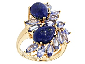 Blue Lapis Lazuli 18k Yellow Gold Over Sterling Silver Ring 2.85ctw